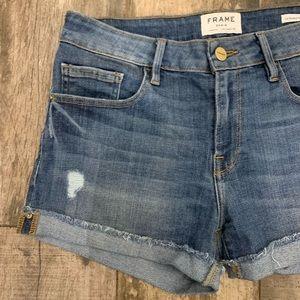 FRAME - Le Grand Garcon Cutoff Denim Shorts